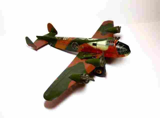 Marx 4 Engine Army Bomber Wind-up Tin Toy