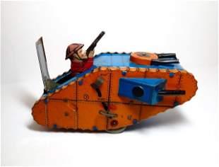 Mark Doughboy Tank Wind-up Tin Toy