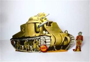 Marx Exploding Tank Cardboard & Tin Toy