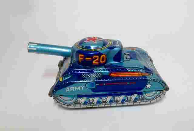 Unknown Maker Tin Friction Firing Army Tank