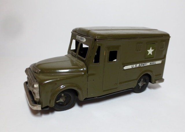 Unknown Maker Tin Friction U.S. Army Mail Truck