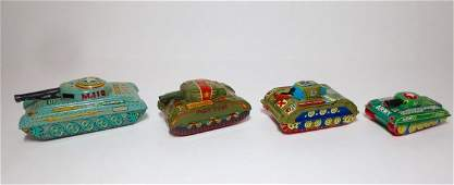 Japan Assorted Makers Tin Friction Army Tanks