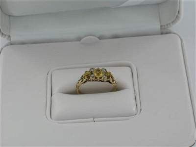 144: Ladies 14kt Gold Diamond & Yellow Sapphire Ring