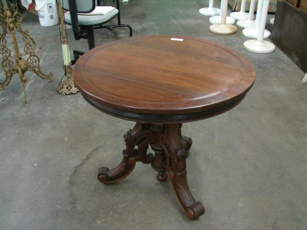 3049: Round Walnut Parlor Table