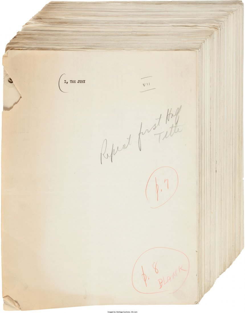 45001: Mickey Spillane. Original Typescript for I, the
