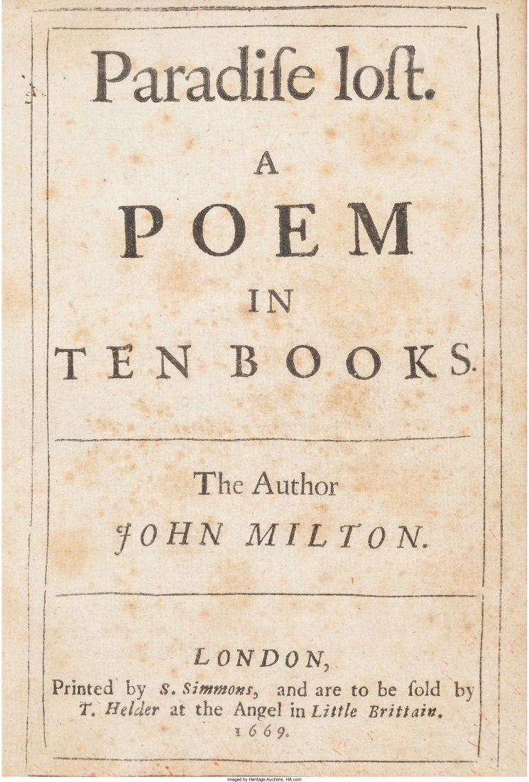 45317: John Milton. Paradise Lost. A Poem in Ten Books.