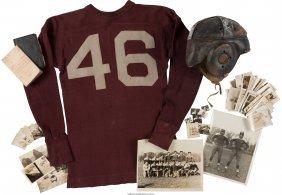 45037: [Mickey Spillane]. Football Helmet, Jersey and O