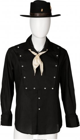 45066: [Mickey Spillane]. Black Cowboy Shirt and Stetso