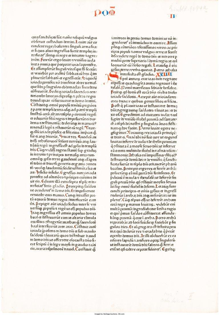 45277: [Incunable Leaf]. [Biblia Latina]. [Mainz: Johan