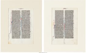 45190: [Illuminated Manuscripts]. Pair of Leaves from a
