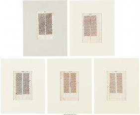 45191: [Illuminated Manuscripts]. Group of Five Leaves