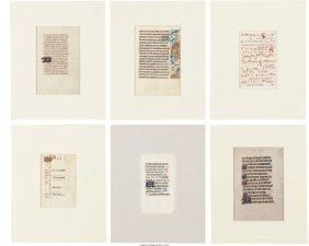45192: [Illuminated Manuscripts]. Group of Thirteen Lea