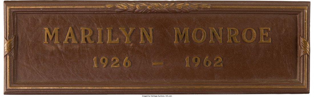 89001: A Marilyn Monroe Grave Marker, Circa 1990s. Made