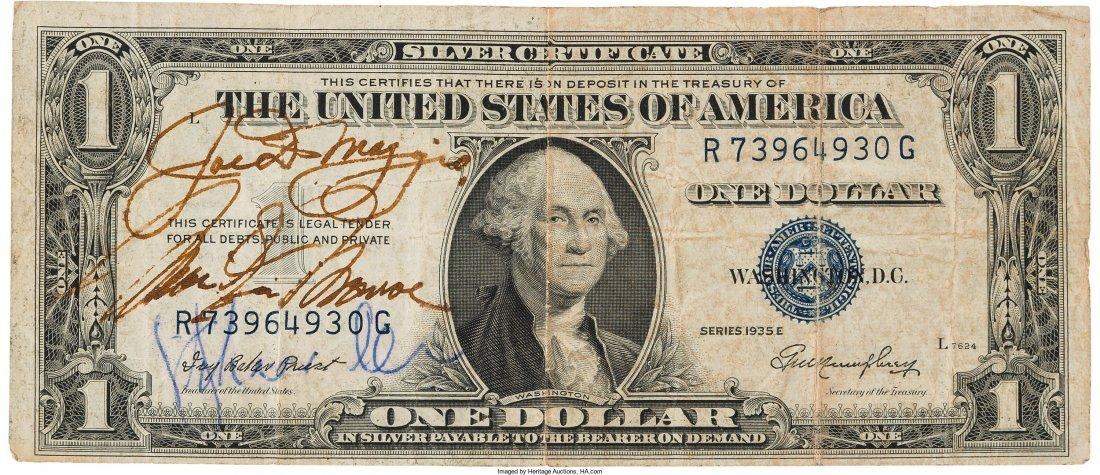 89003: A Marilyn Monroe and Joe DiMaggio Signed Dollar