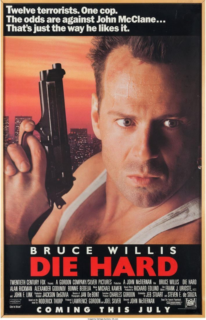 "89109: A Bruce Willis Owned Movie Poster of ""Die Hard."""