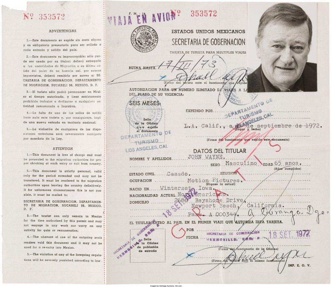 89132: A John Wayne Twice-Signed Mexican Tourist ID Car