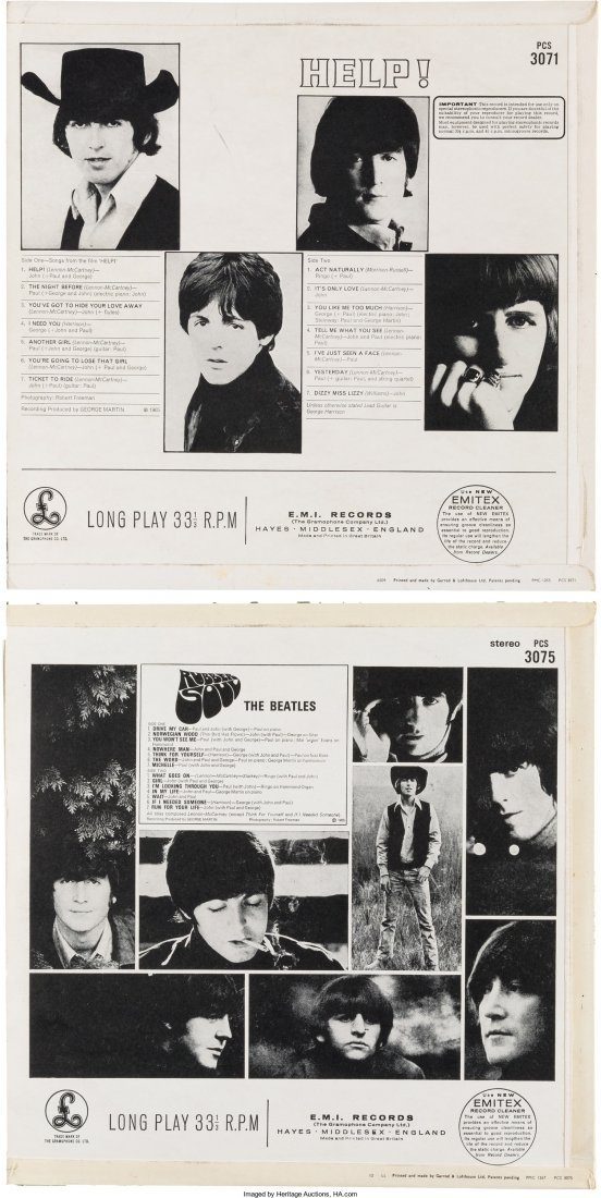 89588: Beatles - Help and Rubber Soul UK LP Group Late  - 2