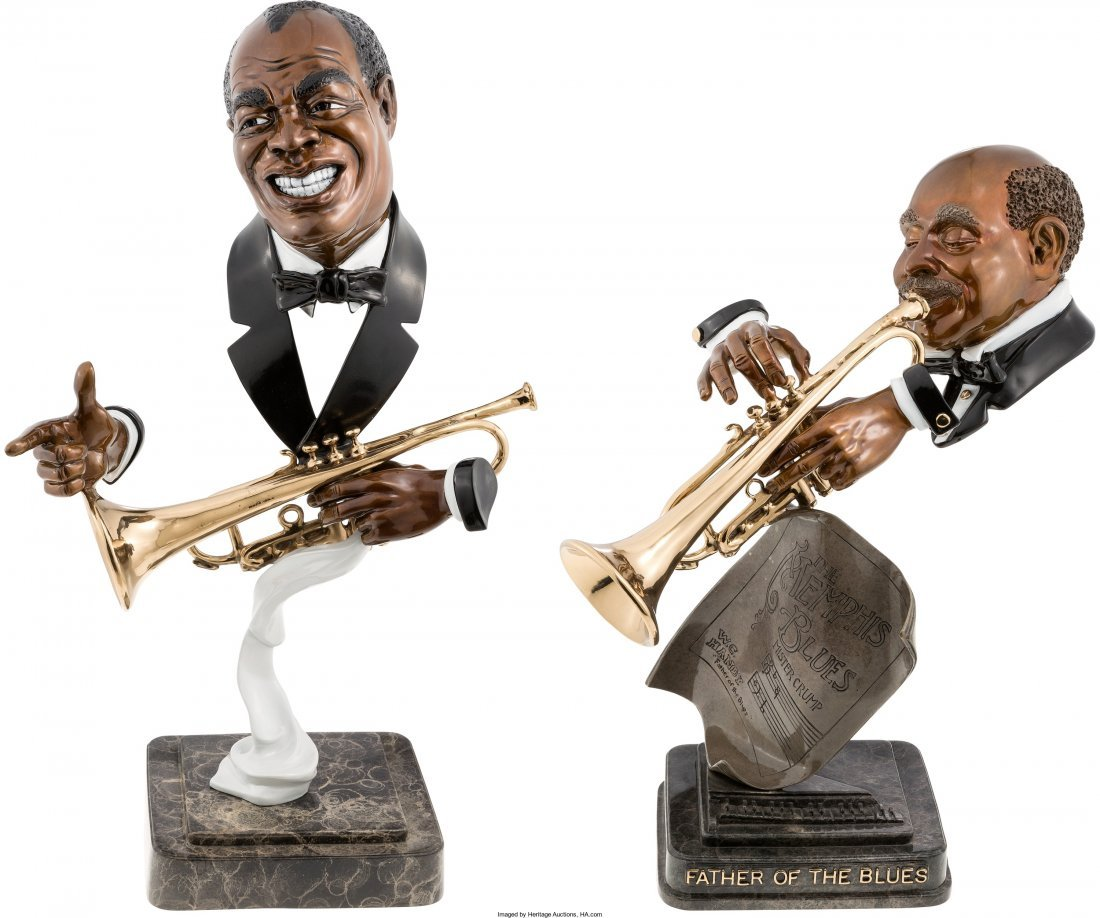 89379: Louis Armstrong/W.C. Handy Pair of Bust Statues