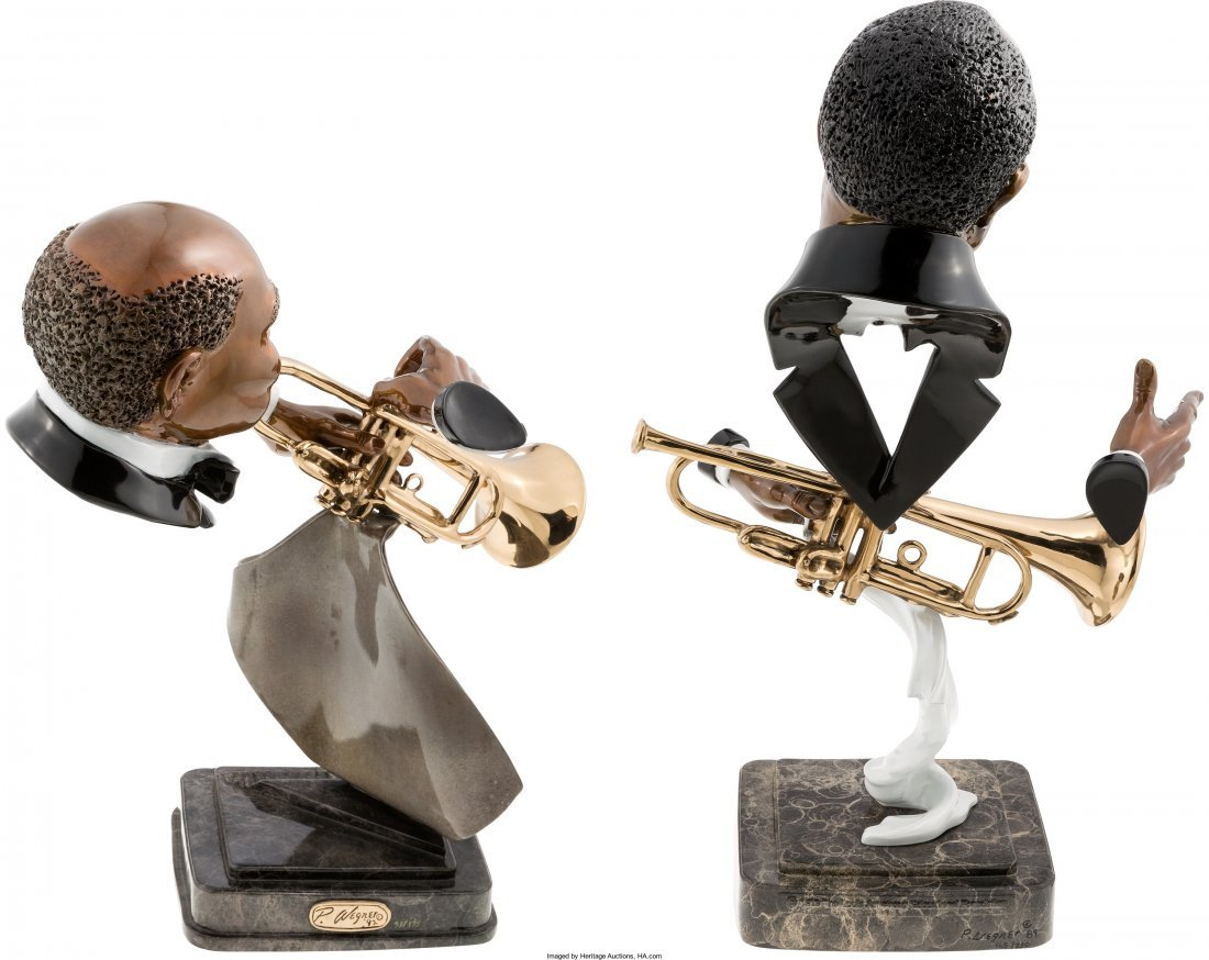 89379: Louis Armstrong/W.C. Handy Pair of Bust Statues  - 2