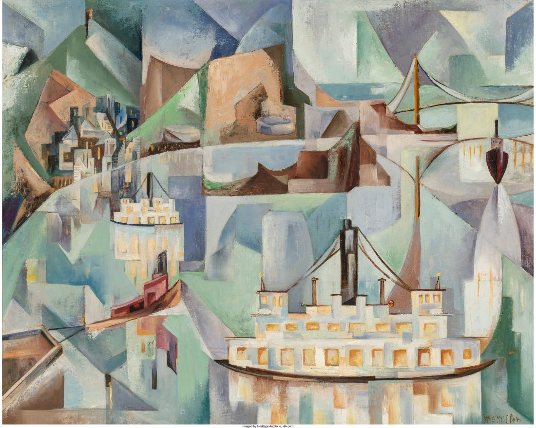 65001: Jack McMillen (American, b. 1910) Ferry Boats Oi