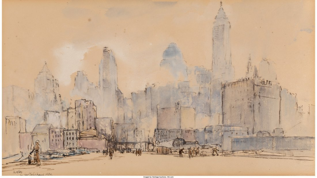 65011: James McBey (British, 1883-1959) View of New Yor