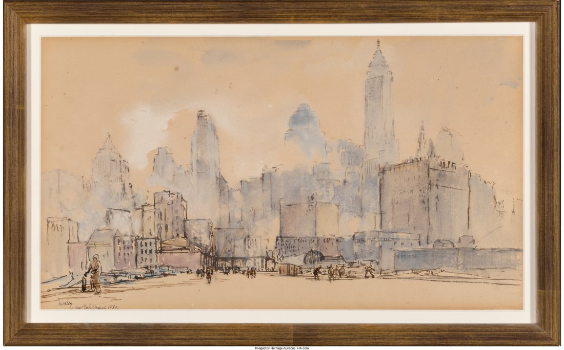 65011: James McBey (British, 1883-1959) View of New Yor - 2