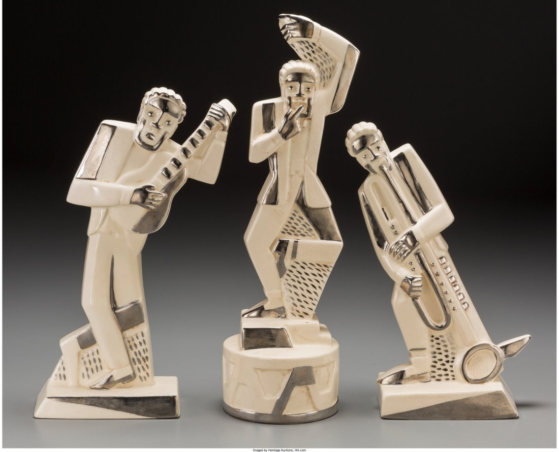 65027: A Three-Piece Primavera Jazz Age Chromed Porcela