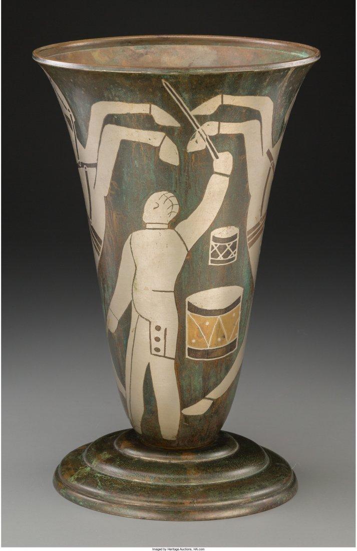 65029: A P. Mercier Art Deco Dinanderie Circus Vase, ci