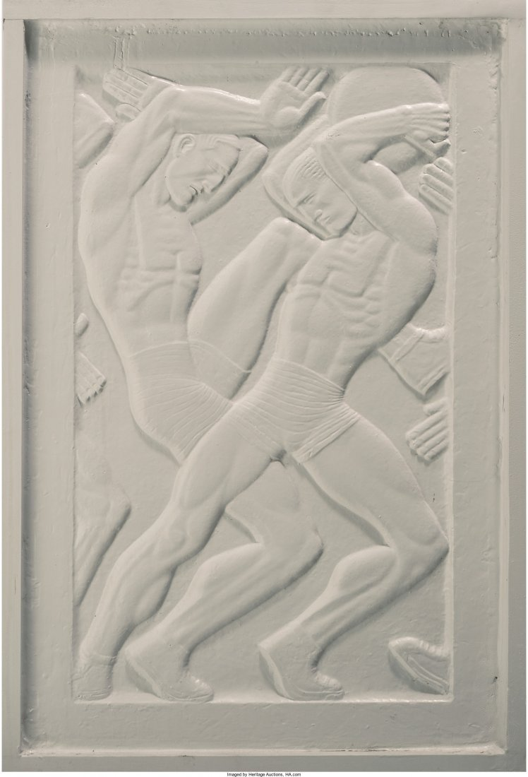 65145: A Framed Art Deco Plaster Relief: Two Athletes 2