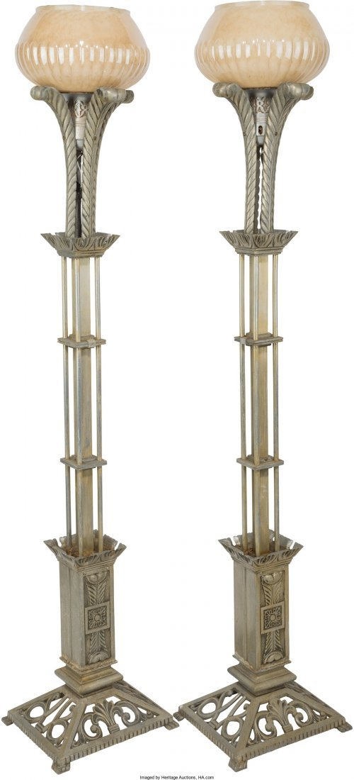 65187: A Pair of Art Deco-Style Silvered Metal Torchier