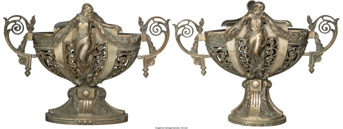 65193: A Pair of Neoclassical Patinated Bronze Figural