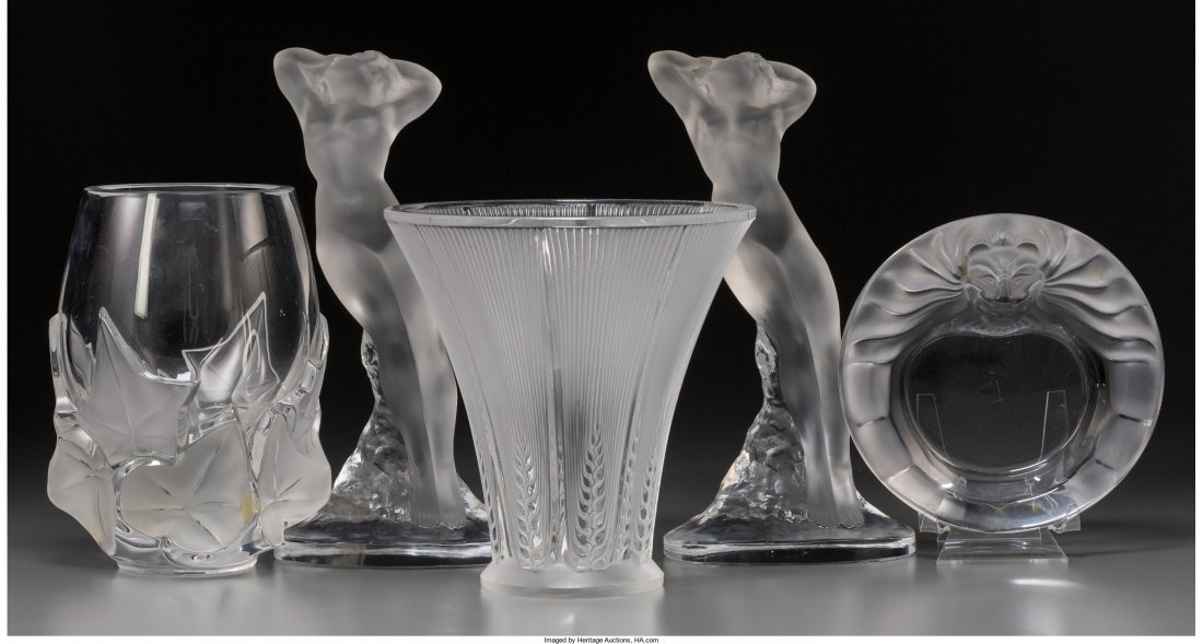 65387: A Group of Five Lalique Clear and Frosted Glass