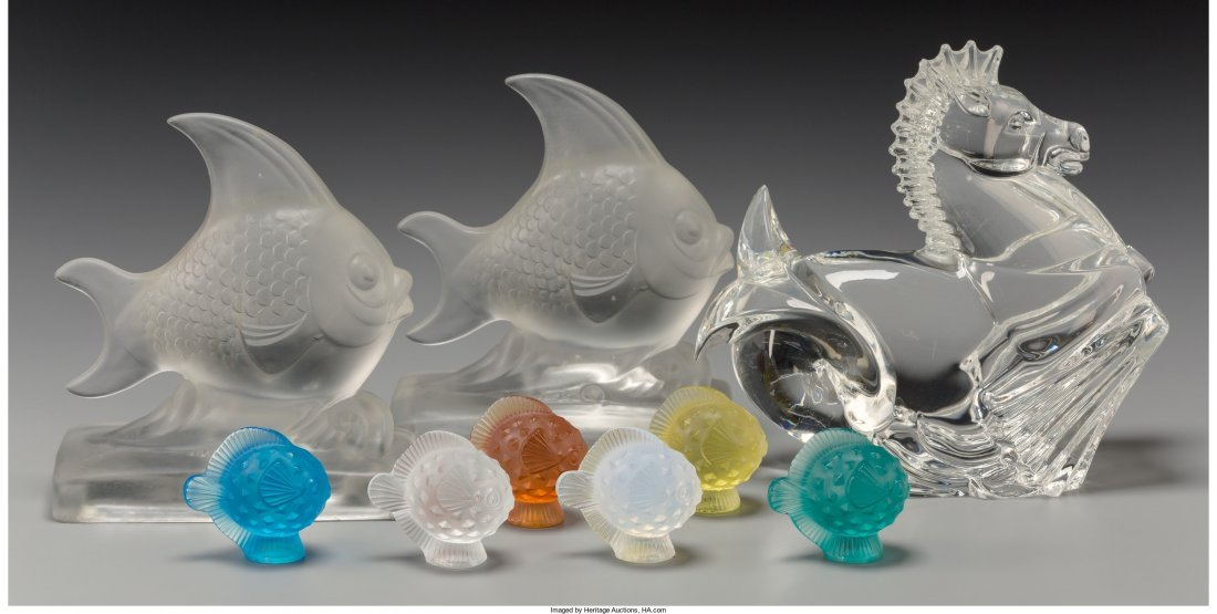 65390: Six Lalique Colored Glass Puffer Fish with Steub