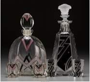 65412: Two Art Deco Painted and Enameled Glass Liquor S