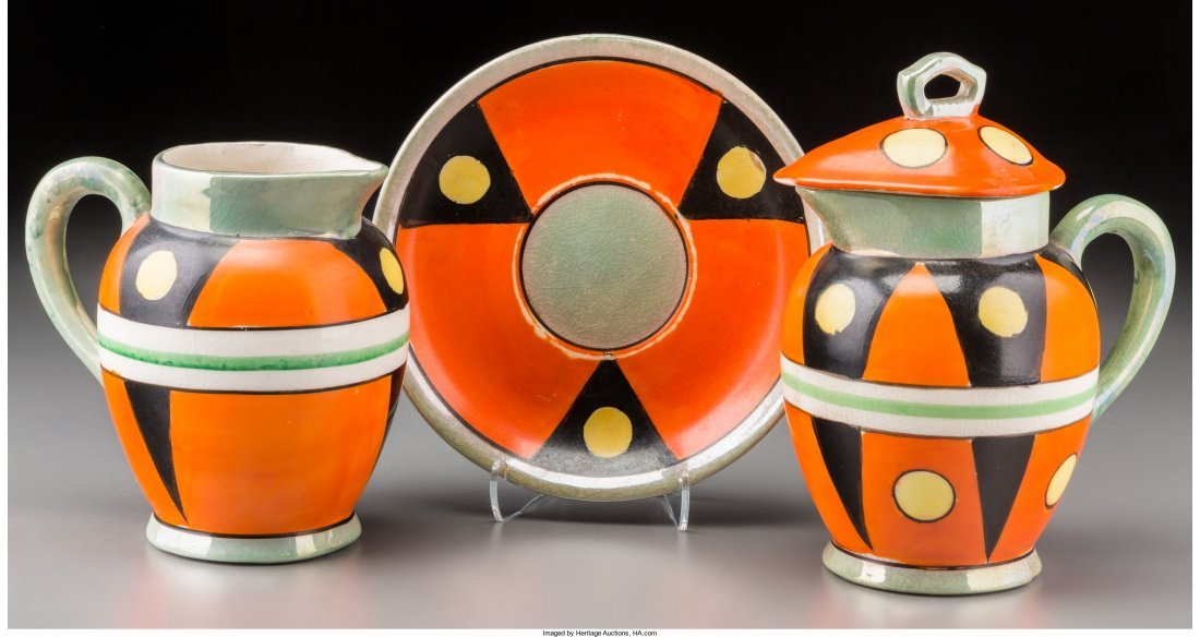 65414: A Group of Six Japanese Cold Painted Ceramic Cre