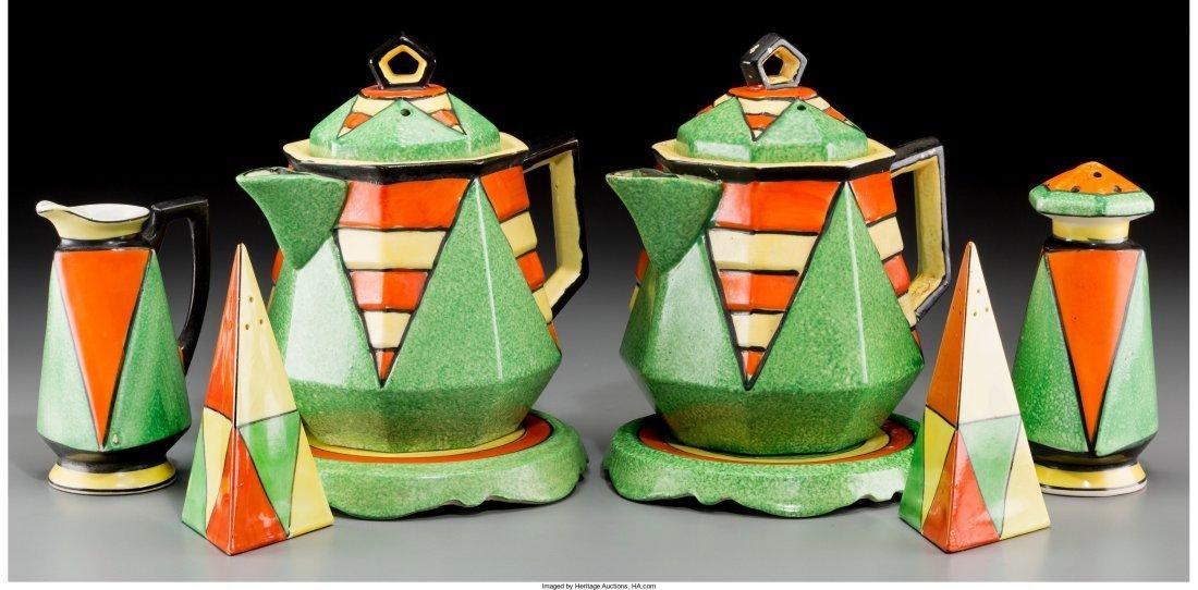 65416: An Eight-Piece Japanese Art Deco Painted Ceramic