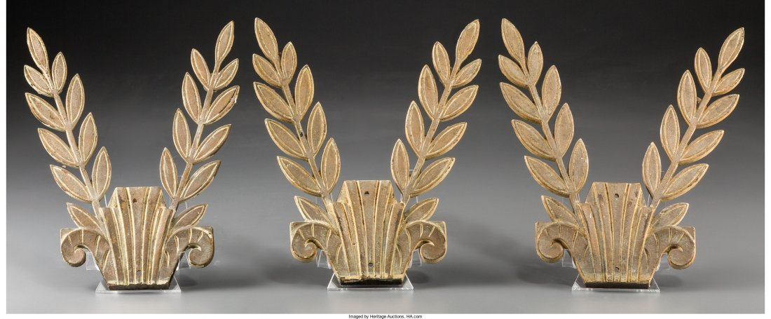 65425: A Set of Three Creme Painted Bronze Olive Branch