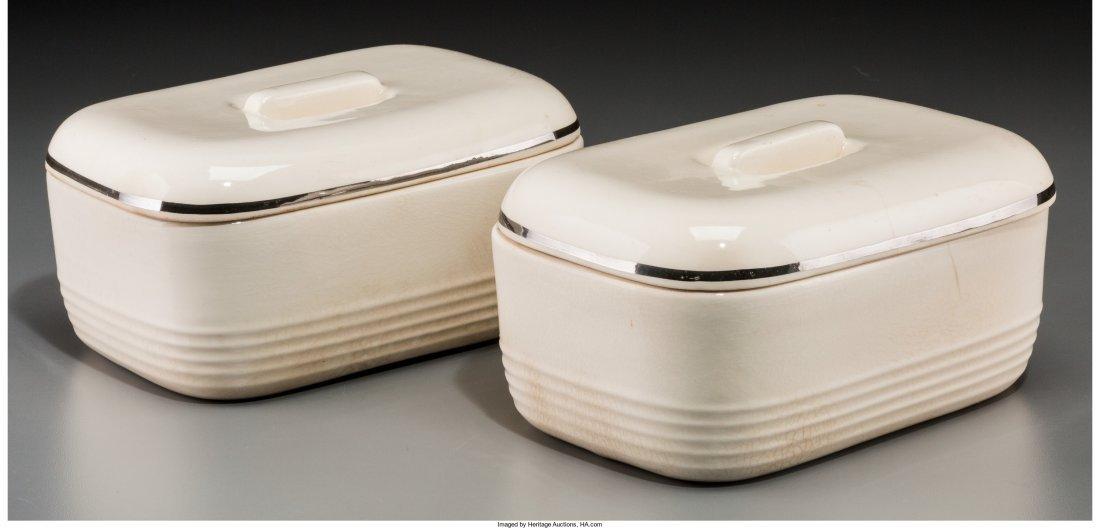 65427: A Pair of Machine Age Chromed Ceramic Refrigerat