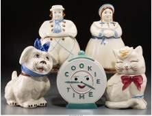 65458 Five Ceramic Cookie Jars Dutch Man  Woman Dog
