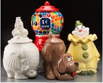 65461 Four Ceramic Cookie Jars Clown Elephant Dog