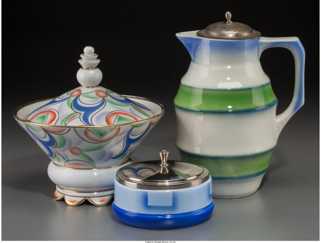 65495: Three German Spritzdekor Bauhaus Ceramic Tablewa