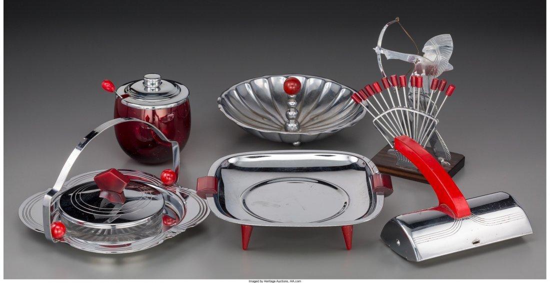 65720: Seven-Pieces of Art Deco Chrome Barware and Tabl