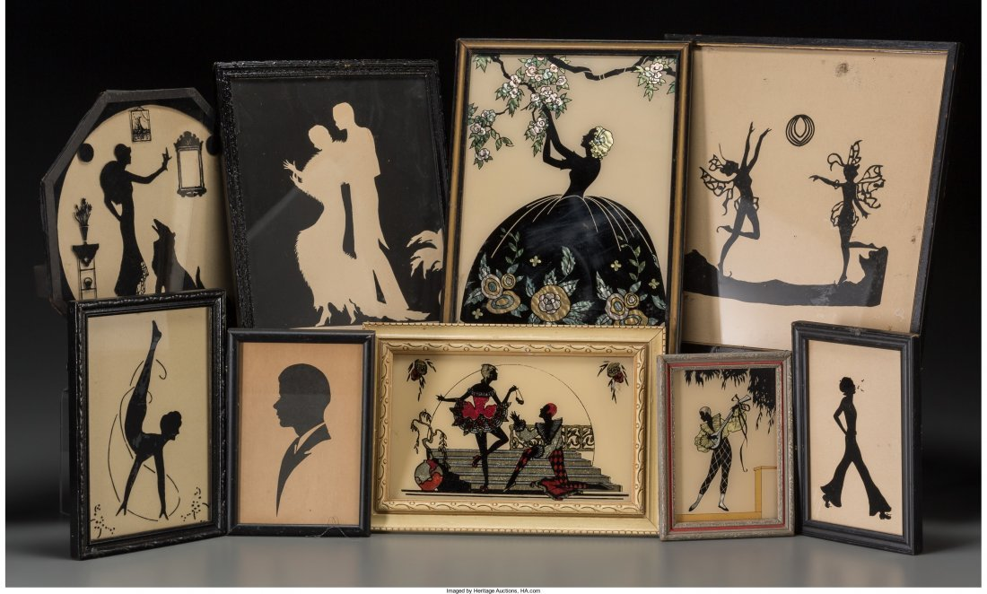 65724: Nine Framed Silhouettes, first half 20th century