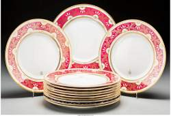 65581 Twelve Minton Ceramic Dinner Plates with Gilt Ac