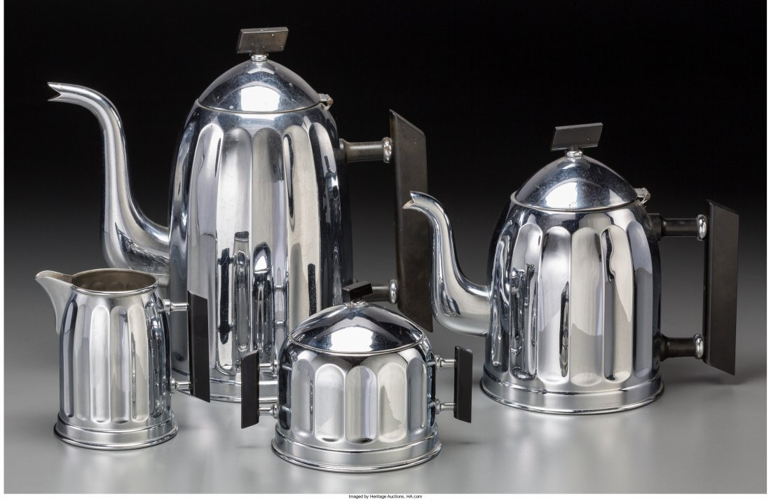 65654: A Four-Piece Art Deco Chrome and Bakelite Tea an