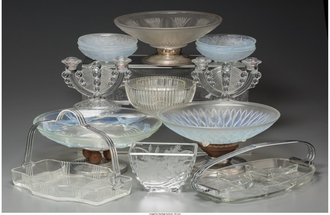 65606: Sixteen Pieces of Art Deco Assorted Clear, Frost