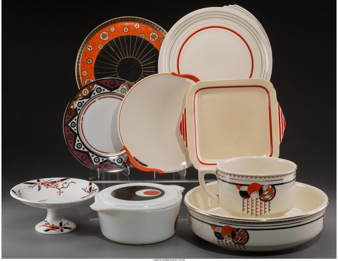 65608: Fourteen Art Deco Ceramic Tablewares, 20th centu