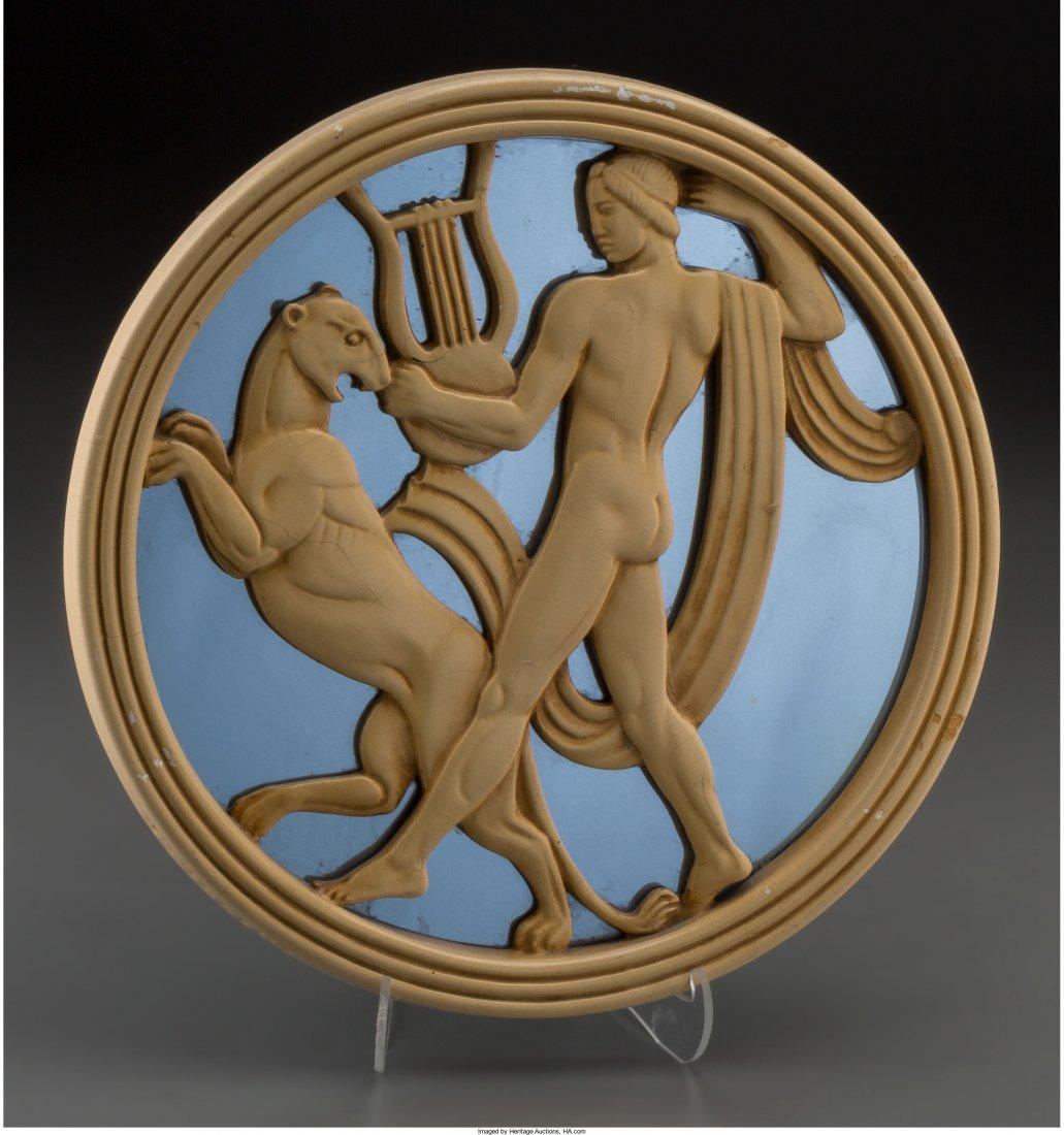 65659: An Art Deco Mirrored Plaster Figural Plaque, cir