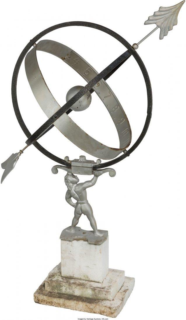 65613: A Silvered Metal Garden Sundial: Atlas, 20th cen