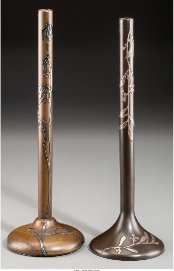 65621: A Near Pair of Heintz Art Nouveau Silver on Copp